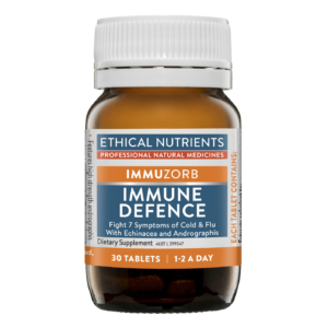 Ethical Nutrients IMMUZORB Immune Defence, with Echinacea and Andrographis for daily immune support, and to help fight 7 symptoms of cold & flu.