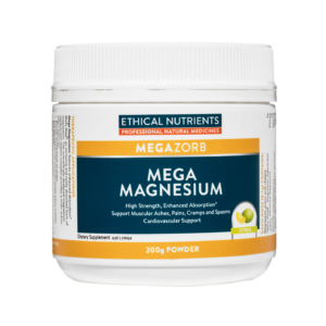 thical Nutrients MEGAZORB Mega Magnesium Citrus helps support muscular aches, pains, cramps and spasms where the dietary intake of Magnesium is inadequate.