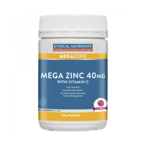 Ethical Nutrients MEGAZORB Mega Zinc 40mg with Vitamin C Powder Raspberry is for male health, immunity & acne management.