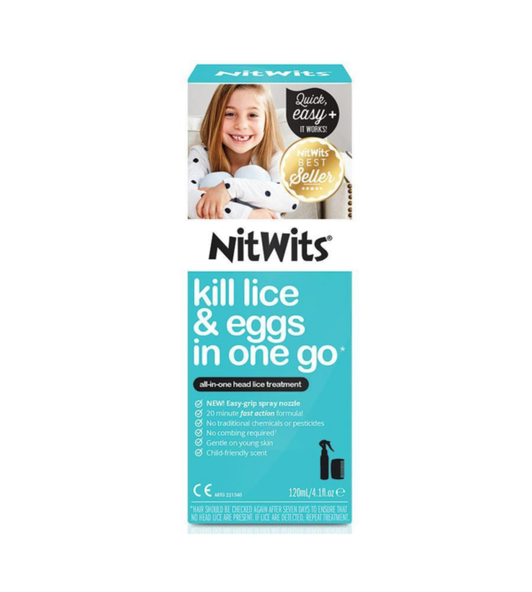 NitWits All in One Head Lice Spray kills head lice and their eggs with no need to comb. Contains a key active ingredient called dimethicone.